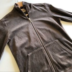 Juicy Couture Made in USA Women's Brown Velour Mock Neck Zip Up Sweatshirt Top M